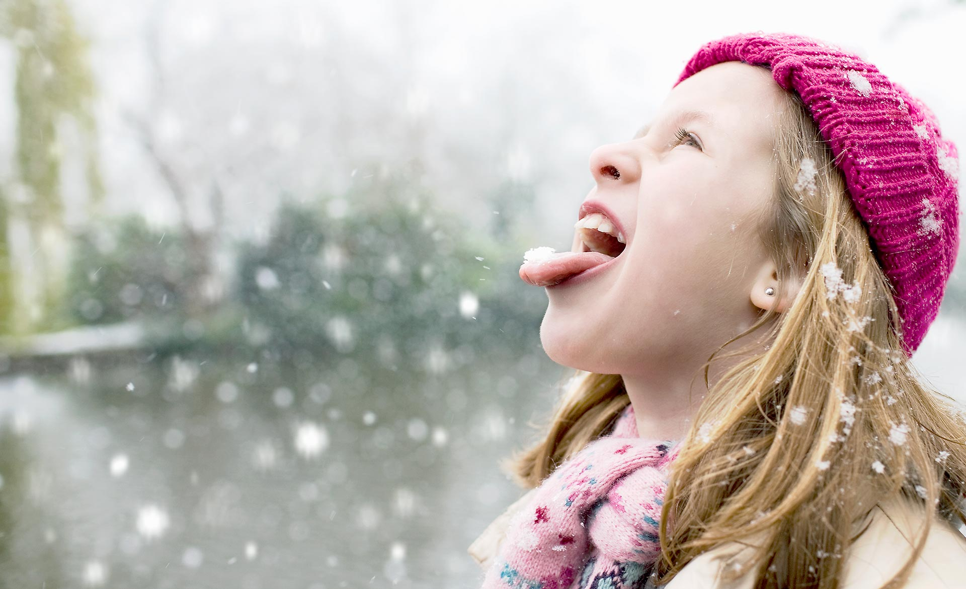 Girl Eating Snow Flake