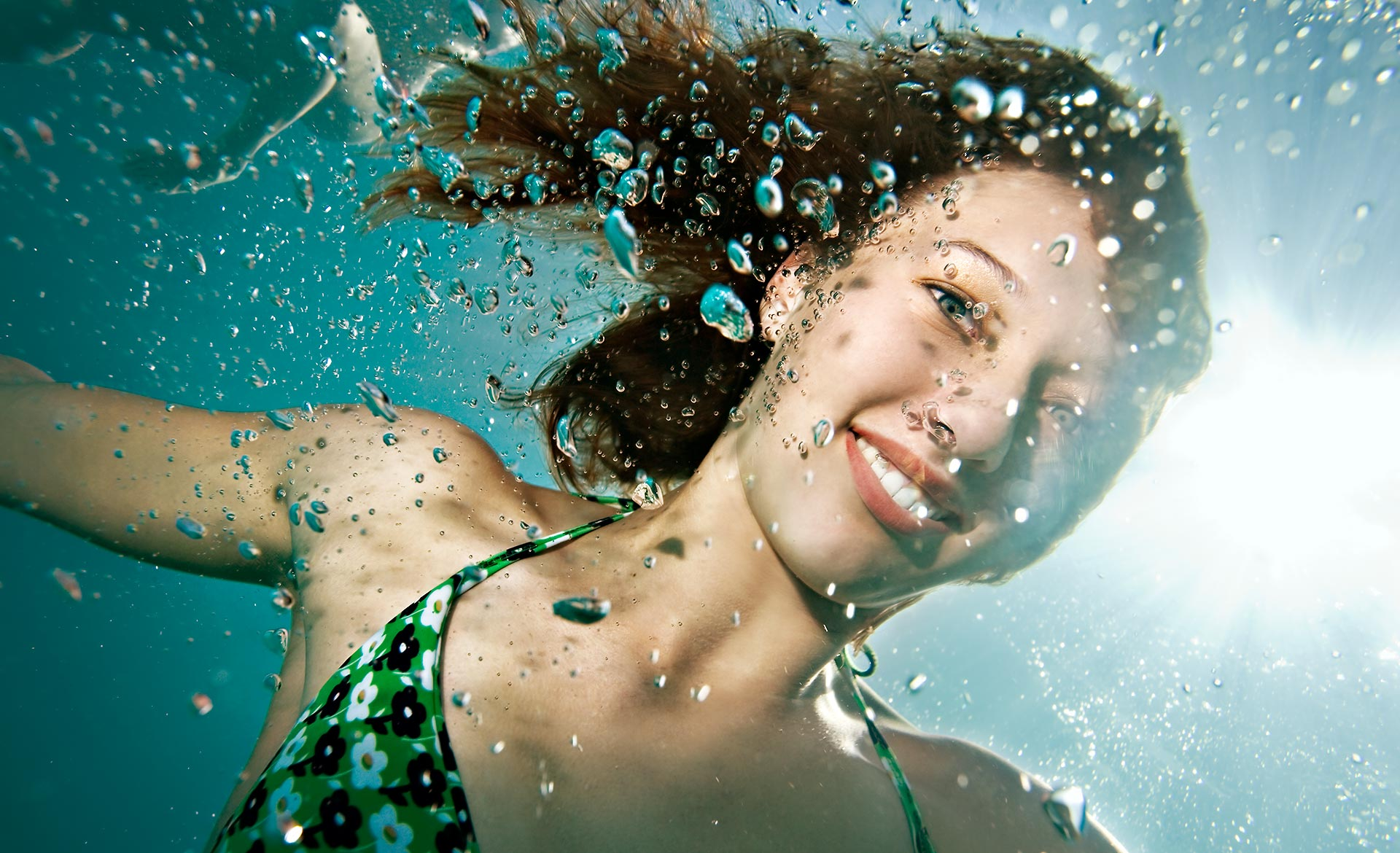 Portrait of girl underwater